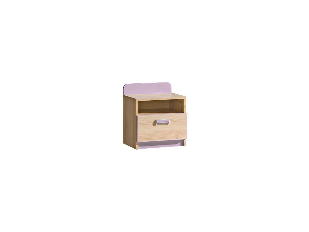 LIMO L12 noční stolek jasan/fialová