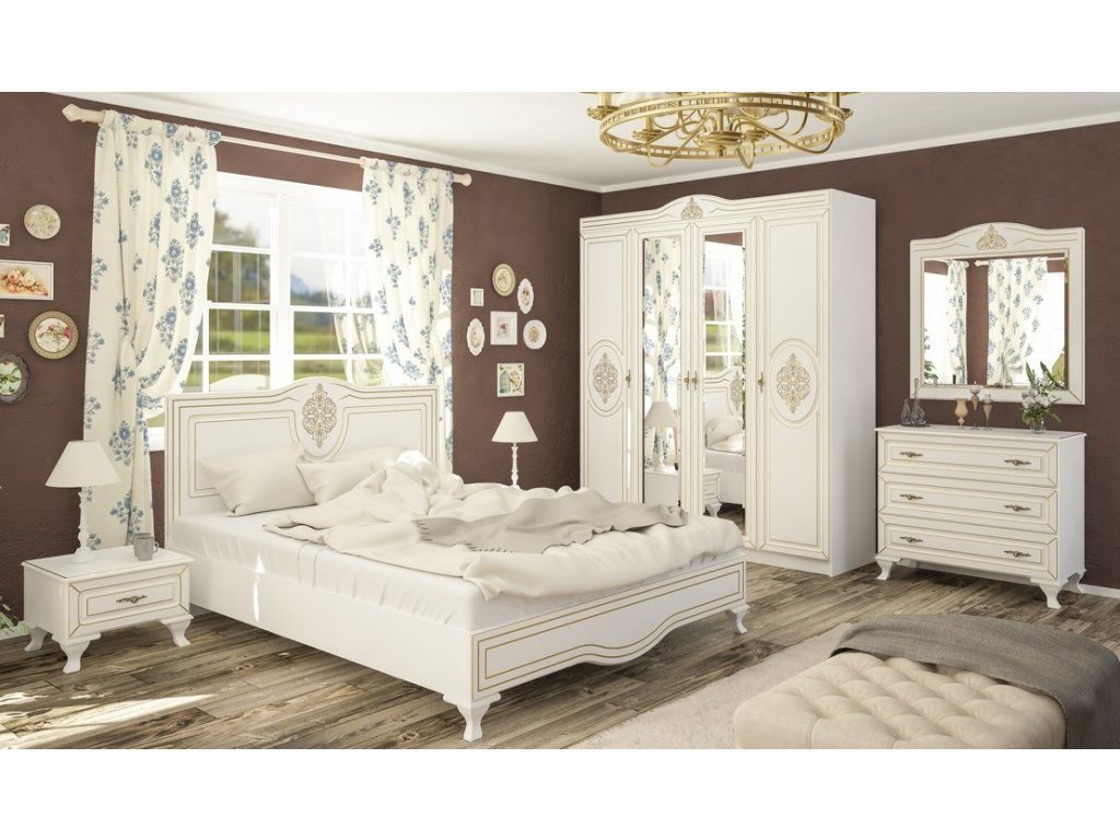 Sestava do ložnice MILAN bílý mat (postel 160, 2x NS, komoda 3S)