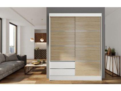 Skříň s posuv. dveřmi 150 cm VARIA bílá/dub sonoma