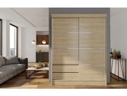 Skříň s posuv. dveřmi 150 cm VARIA dub sonoma
