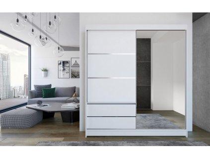Skříň s posuv. dveřmi 180 cm THEODOR bílá/zrcadlo