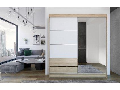 Skříň s posuv. dveřmi 180 cm THEODOR sonoma/bílá/zrcadlo