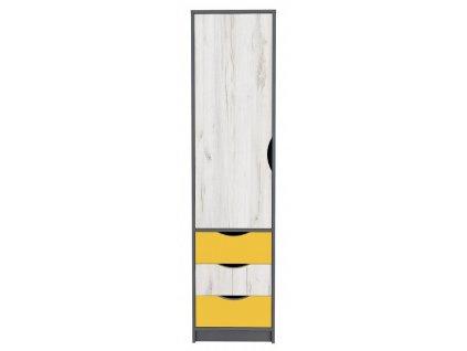 Skříň 1D DISNEY dub kraft bílý/šedý grafit/žlutá