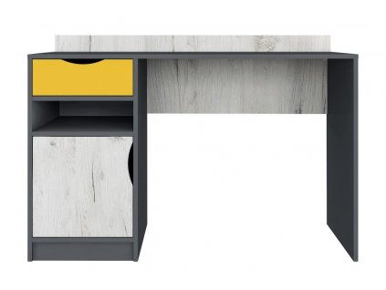 Psací stůl DISNEY dub kraft bílý/šedý grafit/žlutá