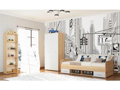 Dětský pokoj DOMINO (postel, skříň, regál) sonoma/bílá