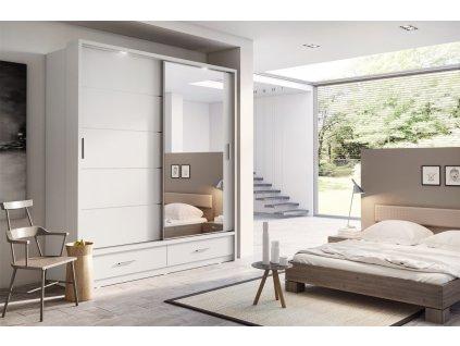 Šatní skříň 05 ARTI 200 bílá zrcadlo