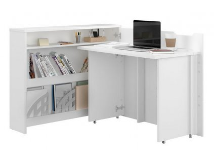 Rozkládací psací stůl pravý REBECCA bílá