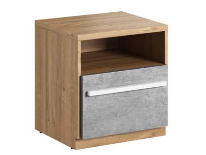 Noční stolek se zásuvkou FLAMY 09 1S dub nash/šedá