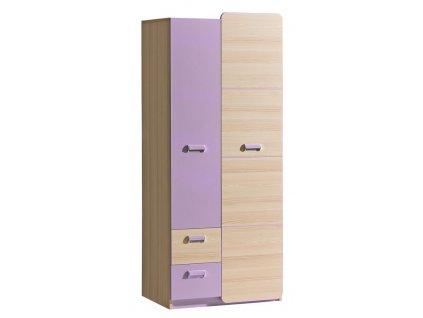 LIMO L1 šatní skříň jasan/fialová