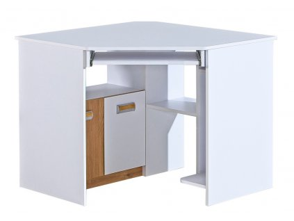 LIMO L11 pracovní rohový stůl bílá/dub nash
