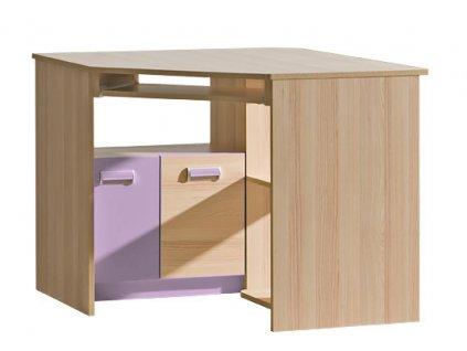 LIMO L11 pracovní rohový stůl jasan/fialová