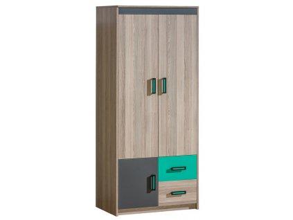 Šatní skříň ULTTIMO U1 jasan/zelená