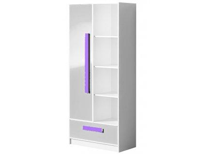 Kombinovaná skříň GULLIWER 3 bílá lesk/fialová