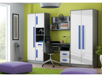 Dětský pokoj GYT antracit/bílá/modrá