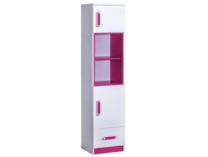 Kombinovaná skříň úzká TRAFICO 4 bílá/růžová