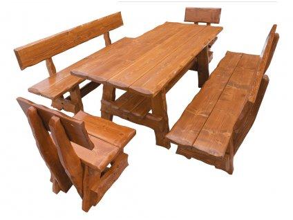 OM-266 zahradní sestava (1x stůl + 2x lavice + 2x židle) výběr barev