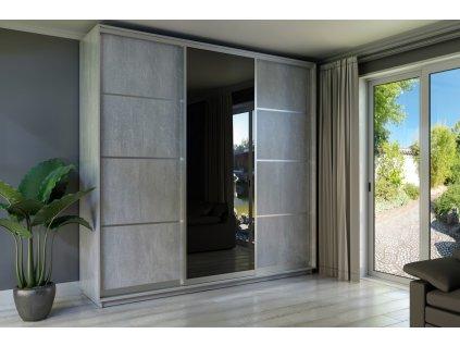Šatní skříň INDUSTRIAL 250 šedá/grafit zrcadlo