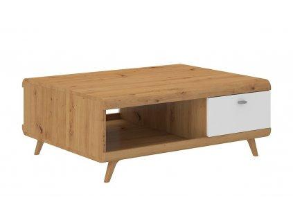 Konferenční stolek BORGEN dub artisan/bílý lesk