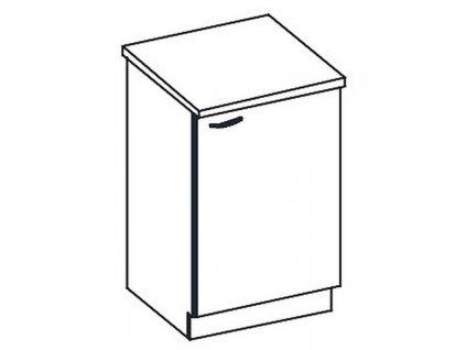 D60 dolní skříňka jednodveřová GREY pravá