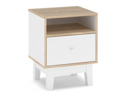 Noční stolek 1D PATRICIA (SET 2ks) bílá/dub sonoma