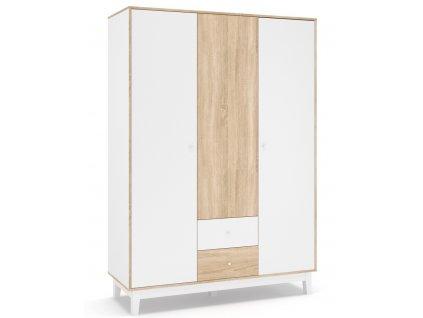Šatní skříň 3D2S PATRICIA bílá/dub sonoma