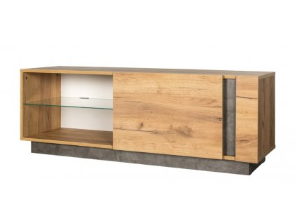 Televizní stolek 1D ARCHI dub kraft zlatý/tmavý kámen