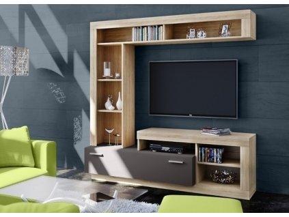 Obývací stěna FLOKS sonoma/grafit