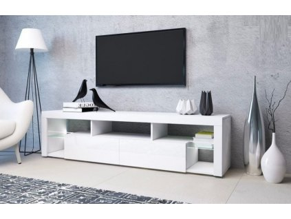 Televizní stolek WIKI bílá/bílý lesk