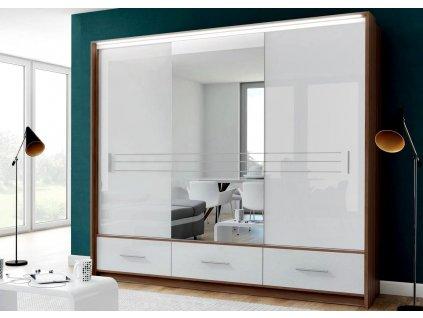 Šatní skříň ALISTE 250L se zrcadlem bílá