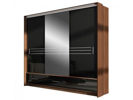 Šatní skříň ALISTE 250L se zrcadlem černá