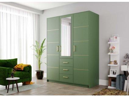 Šatní skříň BASILIO D3 zelená