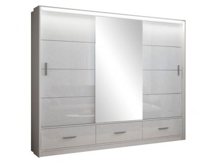 Šatní skříň MAURINO 250 bílá s osvětlením