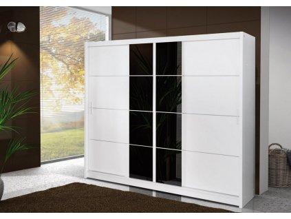 Šatní skříň FAUSTA 250 bílá/černá