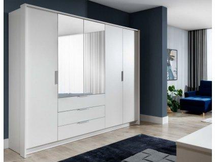 Šatní skříň MALLE 255 bílá/zrcadlo