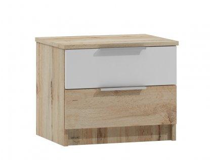 Noční stolek 2S VALTURA dub wotan/bílá
