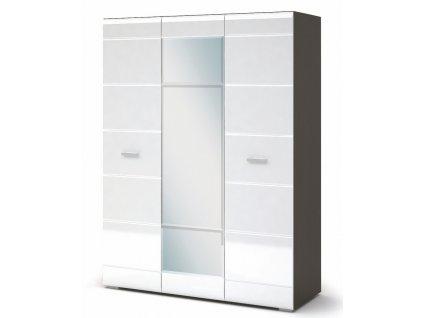 Šatní skříň VEGAS 3D wenge/bílá lesk