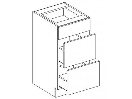 D40/S3 d. skříňka se zásuvkami PALMYRA šedá/mocca