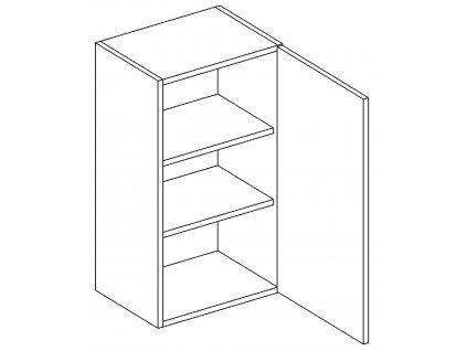 W40 h. skříňka pravá PALMYRA šedá/mat. šedá