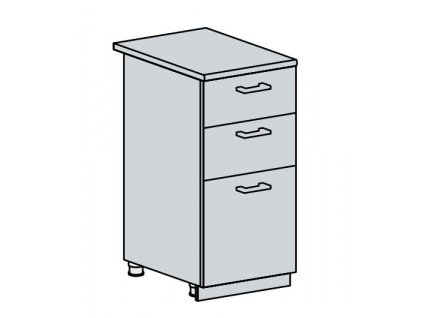 40D3S d. skříňka 3-zásuvková GREECE bk/bílá metalic