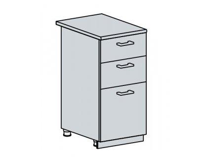 40D3S d. skříňka 3-zásuvková PRAGA bk/bílá