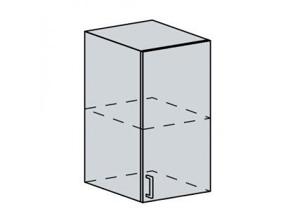 40H h. skříňka 1-dveřová PRAGA bk/bílá