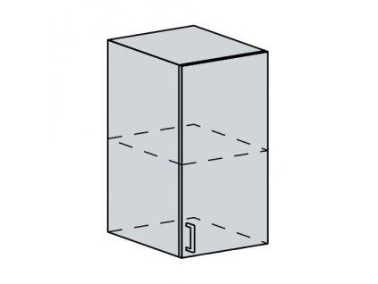 40H h. skříňka 1-dveřová TECHNO bk/oranžová metalic