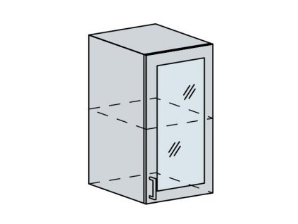 40HS h. vitrína 1-dveřová TECHNO bk/oranžová metalic