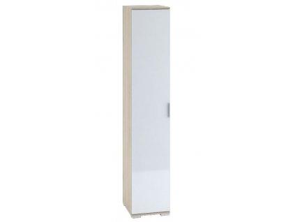 Šatní skříň 1-dveřová TERRA sonoma/bílá lesk