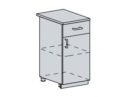 40D1S d. skříňka 1-dveřová se zásuvkou VALERIA bk/wenge