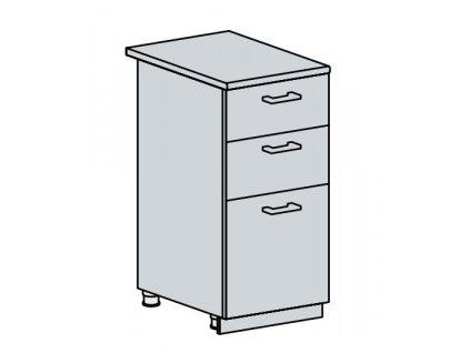 40D3S d. skříňka 3-zásuvková VALERIA bk/bílá lesk