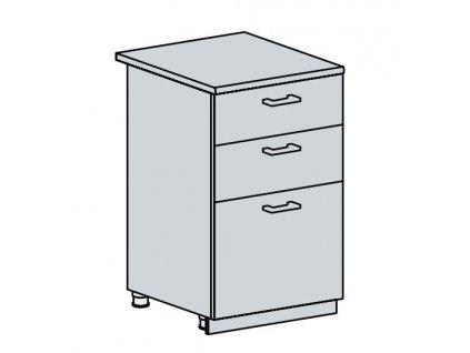 50D3S d. skříňka 3-zásuvková VALERIA wk/bílá lesk