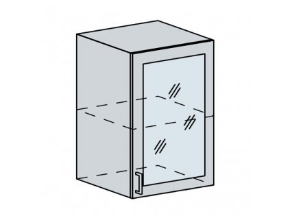 50HS h. vitrína 1-dveřová VALERIA bk/bílá lesk