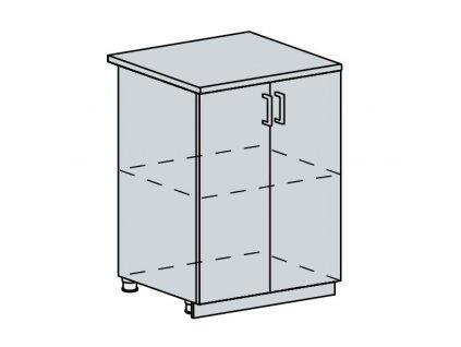 60D d. skříňka 2-dveřová VALERIA bk/bílá lesk
