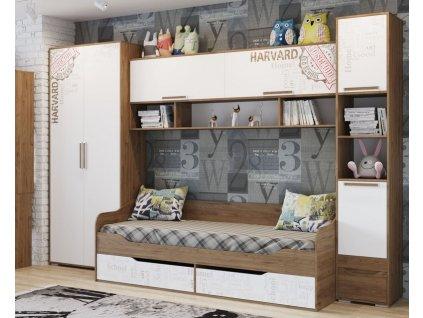Dětský pokoj HARVARD (skříň+postel+nádst.+regál) dub hickory/bílá/potisk